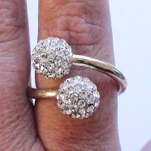 Jewelry - Gold Plate & CZ Spiral Ball Ring